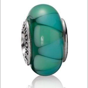 Pandora Green and Blue Murano Glass Charm